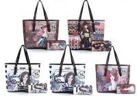 Free Shipping Top Quality Latest New Euramerican Fashion Women's Bags Imitation Leather Handbags Rivet Printing Decoration