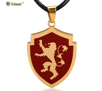 Bahamut Titanium steel jewelry Fashion A Song of Ice and Fire power Lannister lion badge Pendant Men's Necklace Free shipping