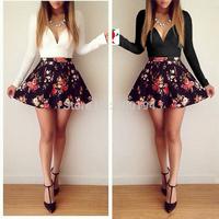 Free Shipping 2014 Women White Print Patchwork Black Cute Vestidos Dress Size XS-XL