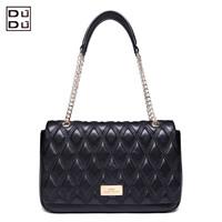DUDU classic elegant plaid fashion leather messenger shoulder bag genuine leather women handbag