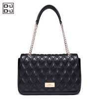 DUDU classic elegant plaid fashion leather messenger shoulder bag genuine leather women handbag