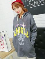 2014 New Fashion Women's Sweatshirt Korean Style Casual Long Sleeves Letters Fleecing Loose Sweatshirt Plus size Pullover Hoodie