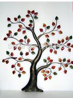 Continental Iron idyllic village home decorative wall hanging wall painting scene Pachira Tree of Life Tree