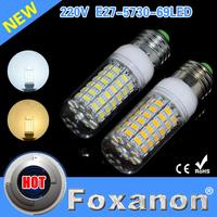 Foxanon Brand 2015 New Led Lamps E27 5730 69Leds 220V Ultra Bright LED Lights Corn Bulb  Christmas Chandelier Candle Lighting