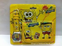 Hot sale! 100sets New SpongeBob sets cartoon kids part Set watch Wristwatch and wallet purse Free shipping