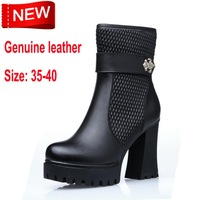 New fashion women boot thick with waterproof genuine leather women's boots Martin boots large size 35-40