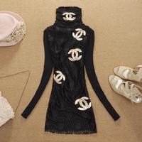 Hot-selling big  new 2014 fashion winter women's basic shirt slim turtleneck slim casual wool sweater  free shipping