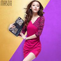 2014 autumn and winter lace one-piece dress long-sleeve ladies fashion female V-neck slim hip basic skirt