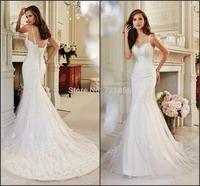 S41 vestido de noiva 2015 New casamento Sexy Spaghetti Straps Lace Applique Long Mermaid Bodice Wedding Dress Bridal Gown