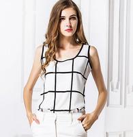 New Women Vest 2014 Fashion Casual Summer Top Tank Black White Plaid Linen Halter Vest Bottoming Shirt Blusas Feminious S-3XL