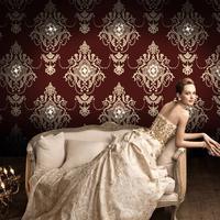 Diamond luxury 3D retro style wallpaper nonwoven fabric living room TV background wall