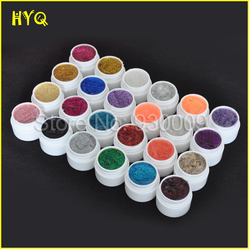 Hot Selling 24 Different Colors Nail Art Glitter Powder Gel Dust Decoration Free Shipping(China (Mainland))