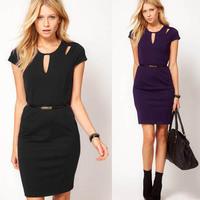 Dropshipping 2014 Good Quality Cotton Short Sleeve Blend Newest Women Back Zipper Slimming Pencil Casual Dress S-XXL