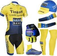 Free shipping 2014 Yellow Saxo Cycling jersey bibs shorts with Warmers cap and cycling gloves / custom cycling wear is ok