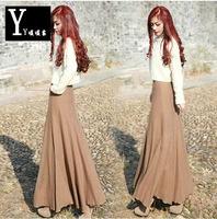 2015 High street fashion woolen skirt women's vintage high waist half-length skirt ladies' slim hip fish tail maxi skirts