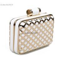 Cii-Korean fashion evening bag Embossing hollow metal grid PU clutch bag ladies hand bags wholesale velvet women handbag
