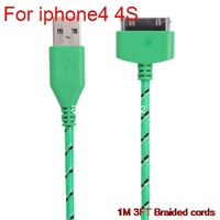10pcs Braided Fabric Nylon wire High quality 30 pin usb charger cables cabo kable  for apple iphone 4 4s ipad 2 3 ipod cheap