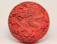 Chinese handmade red lacquer jewelry box carved dragon art /Cheap Free Shiping