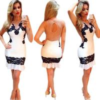2015 New Sexy White Woemn Dress  Plus Size Backless Sheath Lace Chiffon Stitching Flounced Dresses Women Clothing