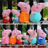 19-30CM Peppa pig Family Plush Doll Toys George Grandpa And Grandma Peppa Teddy Bear And Geroge Dinosaur Gift Children 6pcs/Set