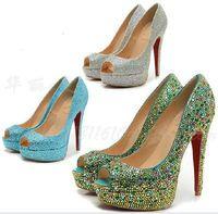 2014 Sexy Sky Blue Peep Toe 14cm Stiletto Heel Platform Ultra High Heel Shoes Rhinestones Satin Women's Evening Party Pumps