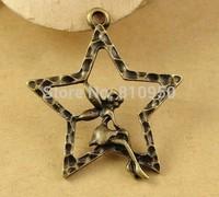 60pcs 27x24MM Alloy/Metal Antique Bronze  Star Angel Charms Pendant ,Handmade DIY Vintage jewelry accessories
