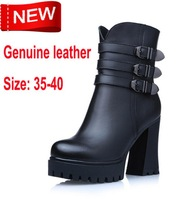 2015 Real Ankle Boots High Boots New Winter for Women 100% Genuine High-heeled Martin Thick Crust British Style free Shipping
