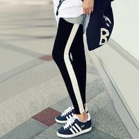 Free Shipping Casual Sports Full Length Leggings Women's Slim Pencil Pants Vertical stripes fashion leggings