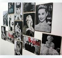 10pcs/lot American Retro Monroe/Audrey Hepburn Posters 20*30cm Cafe/Bar/Home/Restaurant Decorative Metal Painting