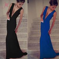 2014 Women Sexy Long Evening Dress Deep V Sleeveless  Pure Color Party Dress Floor-Length Desigual Vestido de Festa