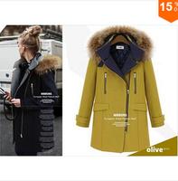High Quality 2014 New Women's Winter Warm Woolen Coat Luxury Fur Collar Overcoat. Female Brand Long Jacket Outwear Winter Parka