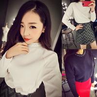 Aim show autumn 2014 new Korean fashion casual beaded collar hedging long-sleeved shirt loose bat