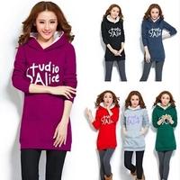 Free shipping Plus size new 2015 Students Thicken sweatshirt women Letter full Hoodies women M L XL XXL