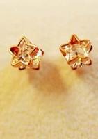 Rose Gold Small Earrings Star  Rhinestone christmas earrings Square double sided earrings