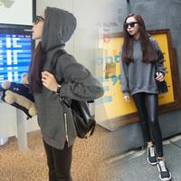 * Panda * 2014 winter new exclusive custom solid color side zipper plus velvet hooded sweater girl