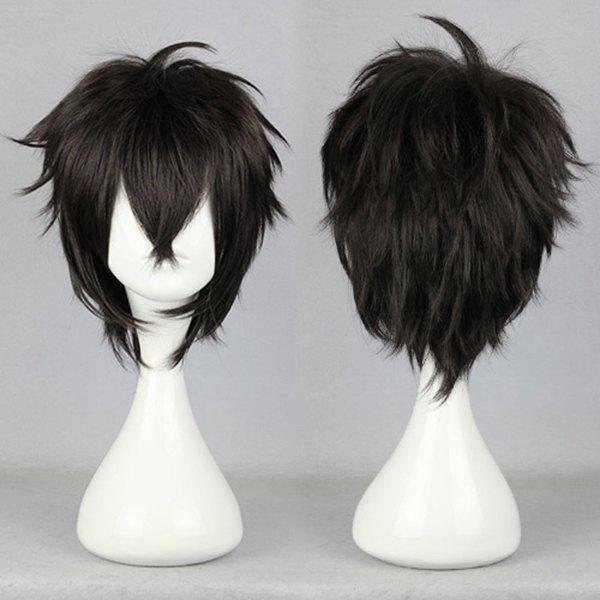 Классическая 32 см мужской короткий черный парик косплей Karneval-GAREKI парик