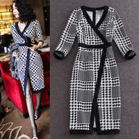 High Quality New Fashion Korean Women Sexy V-Neck Jacquard Cotton Plaid Print Mid-Calf Length Casual Dress Novelty Party Dress