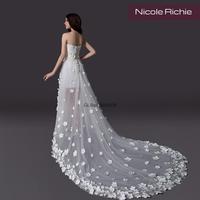 Cii High-grad front short long handmade floral trailing bra Korean lace fashion bridal dress wedding gown customized