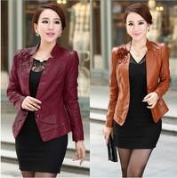 L- 5XL Fashion Women Faux Leather Jacket, Ladies Beautiful Short Slim PU Jackets Coat Rose/Black/Blue/ Coffee Plus Size XXXL 4XL