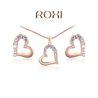ROXI Gifts Genuine Austrian Crystal Double Heart Sets 100% Hand Made Fashion Jewelry Set Earrings+Necklace for Women 2014112327
