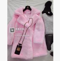 Promotion Eco-friendly Faux Fur Outerwear Rex Rabbit Fur Coat  Long Design Warm Winter Coat Women 6 Color 3 Size Free Shipping