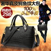 2014 first layer of cowhide for Crocodile cross-body shoulder bag fashion handbag casual genuine leather handbag women's