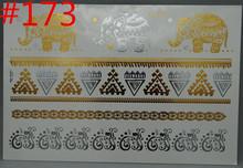 Black gold Arab Indian tattoos body arts painting hot diy 3d flash gold tattoo jewelry large temporary arabic Indian tattoos(China (Mainland))