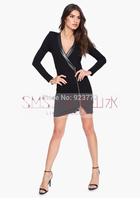 Black V-neck Long Sleeve PU Patchwork Outerwear For Women Slim Zipper Sexy Women Dresses Knitting Coats 2014 Suit Free Shipping