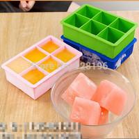 Free shipping Eco-Friendly Jumbo Silicone Ice Cube Tray Oversized X-Large 6 Squares Molds on sales