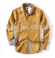 2014 Fashion Men's high-grade cotton corduroy fabrics corduroyShirt men  Fale long sleeve Shirt Comfortable free shipping