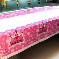 180*108cm Disposible Children Party Girl Birthday Table Cloth Cover Crown Prince Pink Christmas