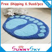 Free shipping Lovely Feet flocking carpet,Bedroom Living room Mat. 40cm*60cm bath mats, 230g/piece,Home Decor Door home mat