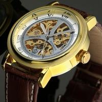 ESS Men's Brown Leather Strap Golden Skeleton Dial Hand Wind-Up Mechanical Watch WM340