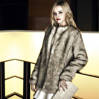 2014 autumn and winter high-end system of the new Korean Women long sections temperament imitation fur fox fur coat